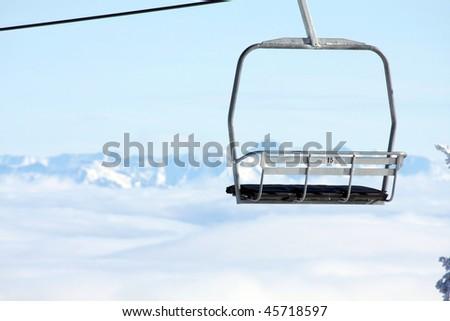 Empty ski lift - stock photo