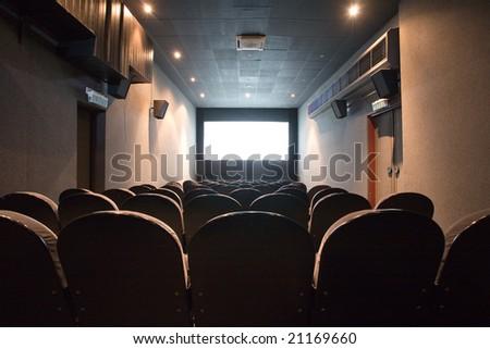 empty small cinema auditorium - stock photo