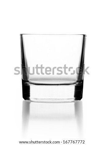 empty small glass for cocktail or tequila isolated on white - stock photo