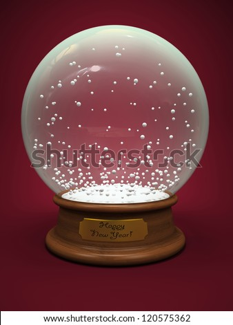 Empty snow globe isolated on red background illustration - stock photo