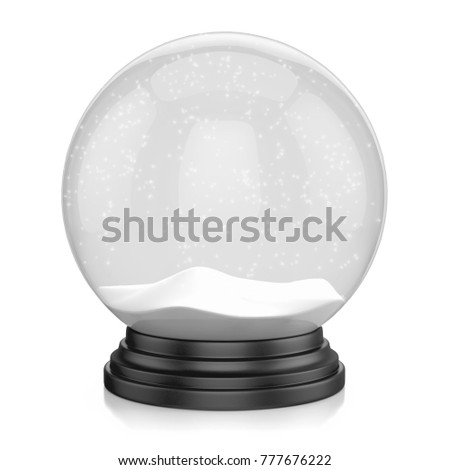 Empty snow globe isolated on white background, 3d illustration