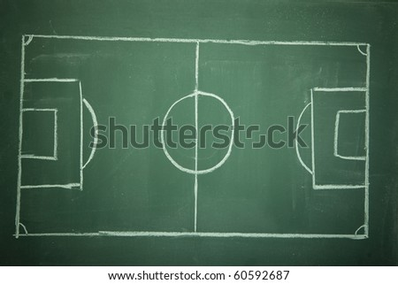 Empty Soccer ( Football ) Field on black (green) board