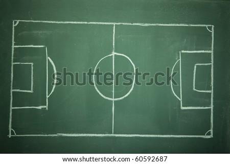 Empty Soccer ( Football ) Field on black (green) board - stock photo