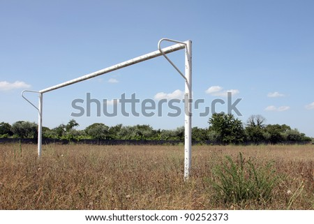 Empty Soccer Goal and a Beautiful Blue Sky - stock photo