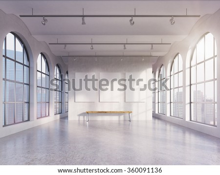 Empty spacious hall with huge roman windows on two sides with Singapore view, three white boards on the concrete back wall, a wooden bench under them. Front view. Concept of exhibition - stock photo
