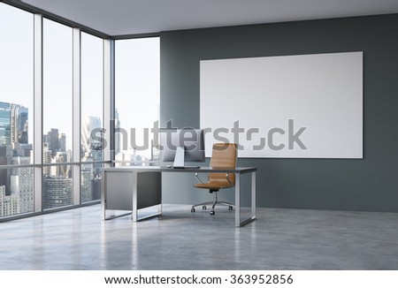 Empty spacious office in a skyscraper, French window to the left, New York view, white board on the grey wall. Table with a computer in the corner, brown leather armchair in front.  3D rendering.
