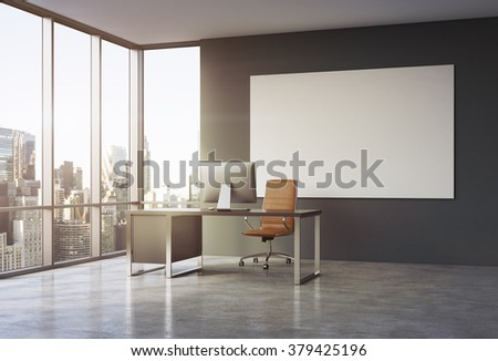Empty spacious office in a skyscraper, French window to the left, New York view, white board on the grey wall. Table with a computer in the corner, brown leather armchair in front. Concept of work. - stock photo