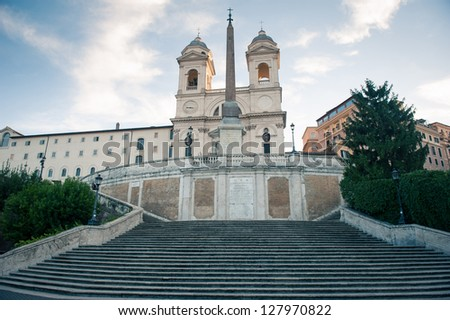 Empty Spanish Steps from Piazza di Spagna. Rome, Italy. - stock photo