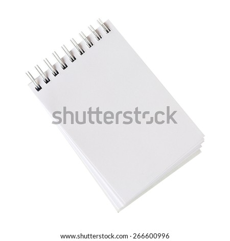 empty spiral notebook isolated on white background - stock photo
