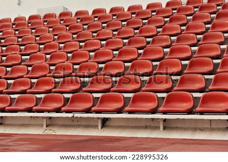 Empty Sports Stadium Building Seats Background - stock photo