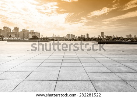 Empty square and floor with sky - stock photo