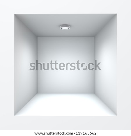 Empty square built-in shop self with illumination. - stock photo