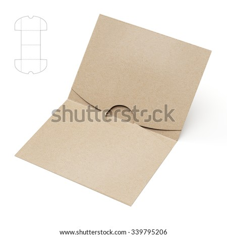 Empty Square folder with Die Cut Template
