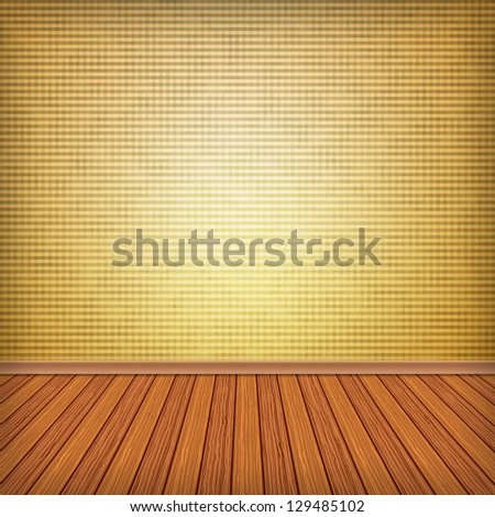 Empty square interior room with wood floor. Pattern gallery to the exhibition as background for your concept or project. Advertisement space. Background textured.