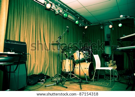 empty stage before the rock concert - stock photo