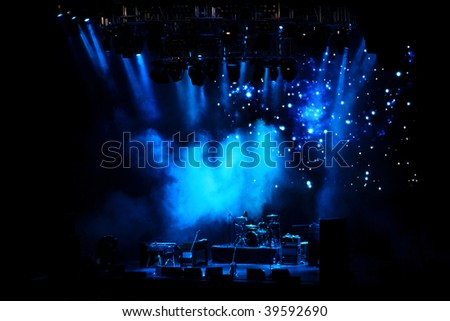 empty stage in blue light before the performance