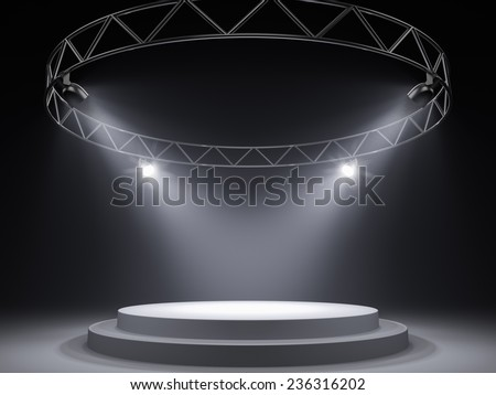 Empty stage in spot lights - stock photo