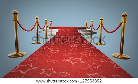 Empty stage with Red carpet High resolution 3d render - stock photo