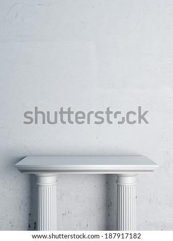 Empty Stand for Exhibit in interior - stock photo