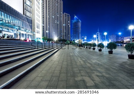 Empty street and modern office building  - stock photo