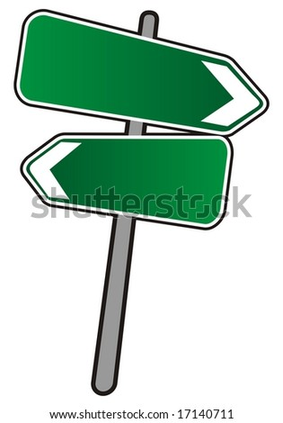 Empty Street arrows sign, illustration on white background