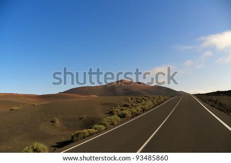 Empty street in Lanzarote. Canary Island - stock photo