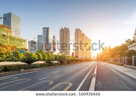 empty street in modern city - stock photo