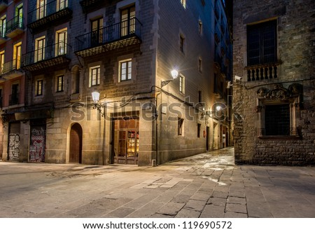 Empty street of Barri Gotic at night, Barcelona - stock photo