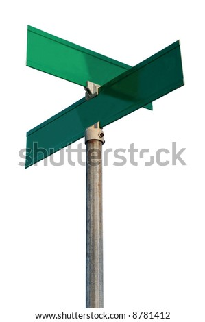 Empty street signs - PLACE YOUR OWN WORDS! - stock photo