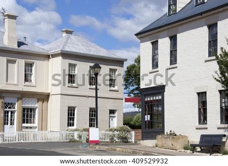 Empty streets of historic Richmond town in Tasmania (Australia). - stock photo