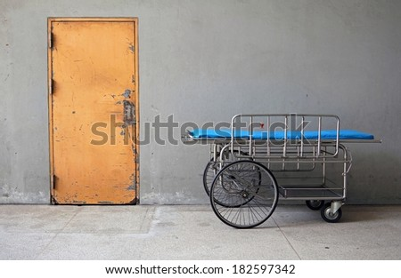 Empty stretcher in a hospital. (hospital bed) - stock photo