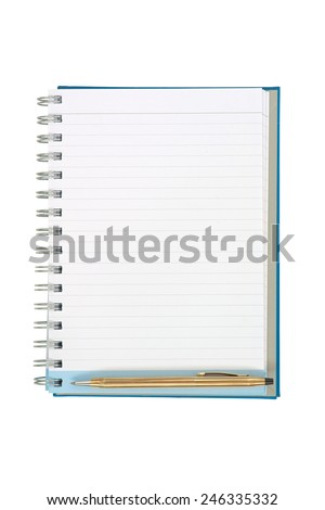 Empty strip line notebook with twisted gold pen on bottom of page isolated on white background - stock photo
