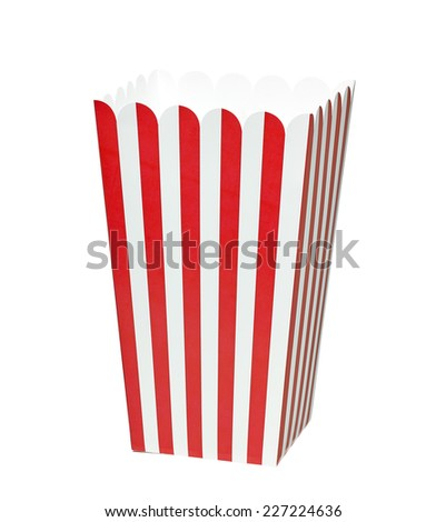 Empty striped popcorn box including clipping path - stock photo