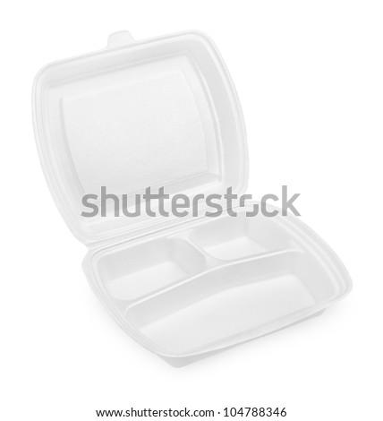 Empty styrofoam meal box isolated on white background - stock photo