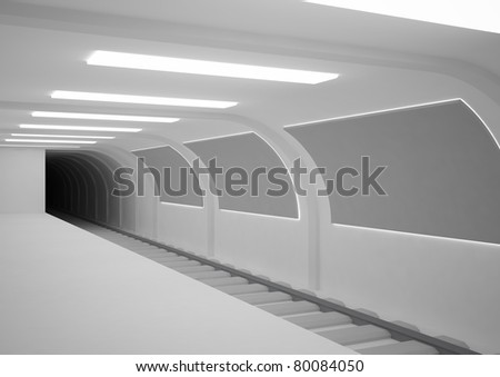 empty subway station with billboards - 3d illustration - stock photo