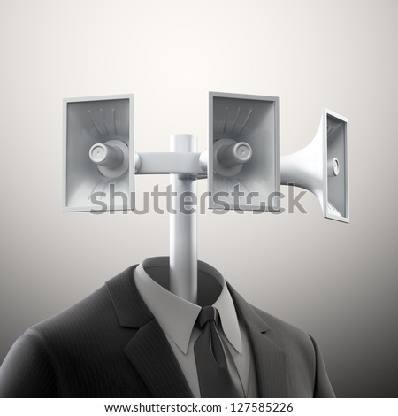 Empty suit with megaphones - communication and service automation concept - stock photo