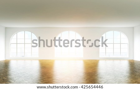Empty sunlit interior with wooden floor, white walls and windows. 3D Rendering - stock photo