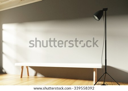 Empty sunny interior with blank wall with copyspace, benches and lighting 3D Render - stock photo