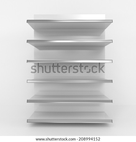 empty supermarket grey shelf from front view. render - stock photo