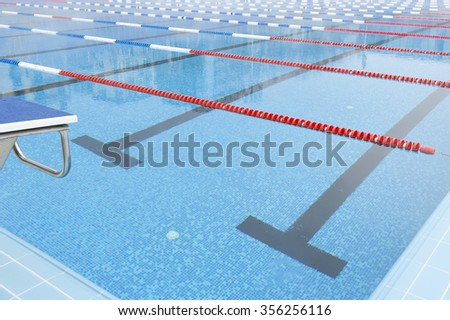 empty swimming pool corner - stock photo