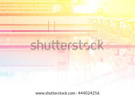 Empty swimming pool in university with color filters - stock photo