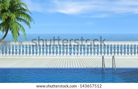 Empty swimming pool near the sea with classic balustrade - rendering - stock photo