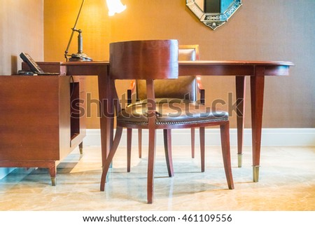 Empty table and chair for working decoration interior of room
