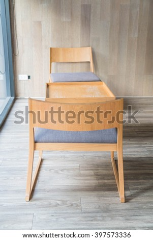 empty table and chair in cafe