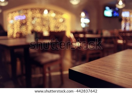 empty table background blur interior of the restaurant - stock photo