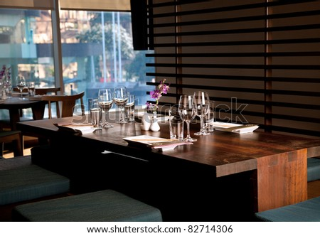 Empty table in a 5 start restaurant - stock photo