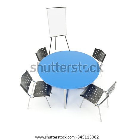 Empty table with flip chart isolated on white background - stock photo