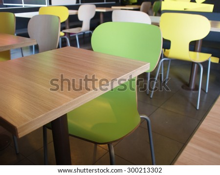 Empty tables and chairs in cafes without visitors, photographed with shallow depth of focus