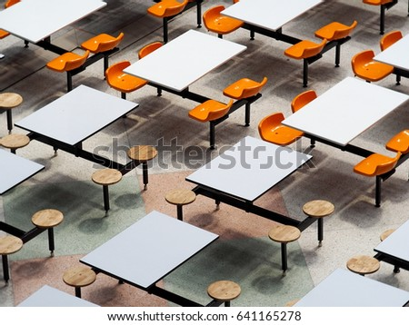 Empty Tables Chairs Set Rows Large Stock Photo Safe to Use