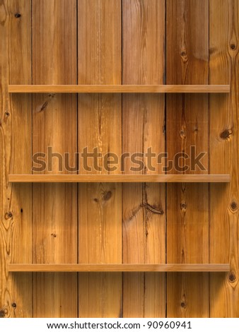Empty three wood shelf on wood decorative wall - stock photo